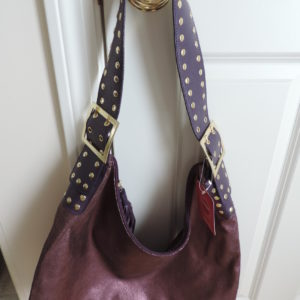 Purple Metallic Hobo Bag With Studded Shoulder Strap NWT