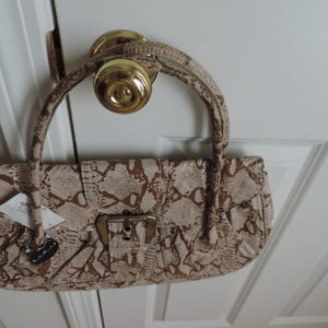 Faux Croc Bag Beige/ Brown/Cream NEW