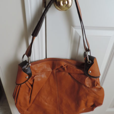 Dark Gold With Choc. Brown Trim Handbag