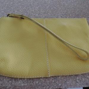 Yellow Large Pebble Leather Wristlet