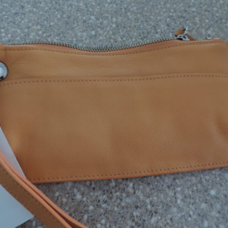 Orange Leather Wristlet NEW