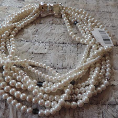 Richelieu White Pearl Choker W/silver & Blue Beads – Rhinestones On Closure NEW