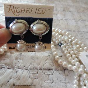 Richelieu Oval Pearl Earring With Pearl Drop Set In Silvertone NEW