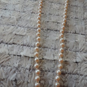 18″ Strand Of Cream Pearls Silver Fish Hook Closure
