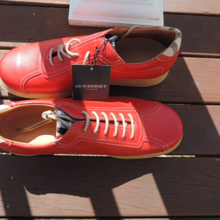Burberry Red Leather Shoes Size 40 (10) NWT