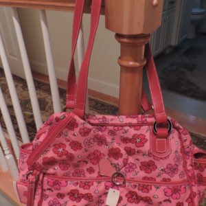 Canvas Floral Tote, Wristlet And Key Chain