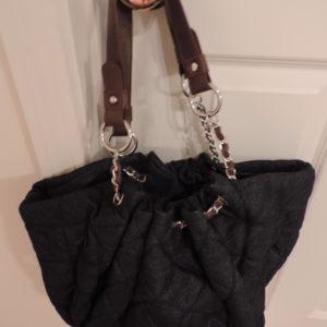 Denim Drawstring Handbag
