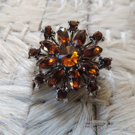 Brown Rhinestone Snowflake Pin