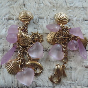 "Clip Earrings Nautical Charms & Lavender Frosted Charms""80's"" Vintage"