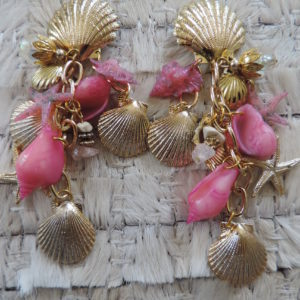 "Clip Earrings Seashell Top – Body All Nautical ""80's"" Vintage"