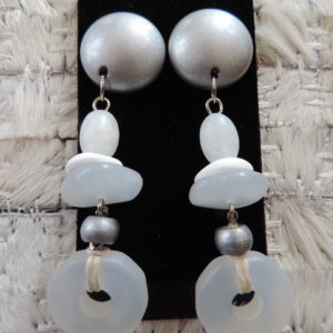 "Clip Earrings Frosted Stones Of White And Gray ""80's"" Vintage NEW"