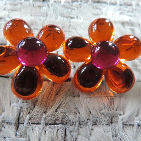 "Clip Orange Flower Earrings ""80's"" Vintage"