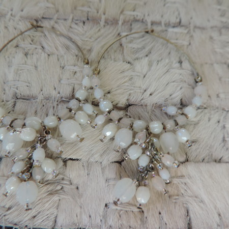 Pierced  Earrings White Beads & Ss Beads On Hoops