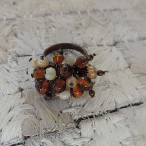 Beaded Ring With Semi-precious Beads And Glass Size 10 1/2
