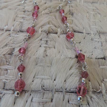 Pierced Earrings Pink Stone/silver Bead & Pink Beads