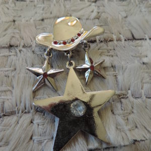 Cowboy Hat With 3 Stars Dangling Pin