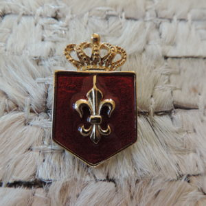 Fleur De Lis With Crown Burgundy Pin