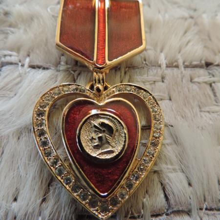 Enamel Red & Burgundy Badge Pin W/ Heart Medallion Hanging