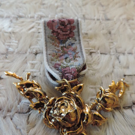 Tapestry Ribbon Pin With Rose Hanging
