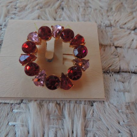 Pinkish Lavender/Red Rhinestone Circle Pin NEW