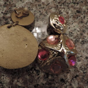 "Clip Earrings Gold W/ Light Pink & Hot Pink Stones Starfish Design ""80's"" Vintage"