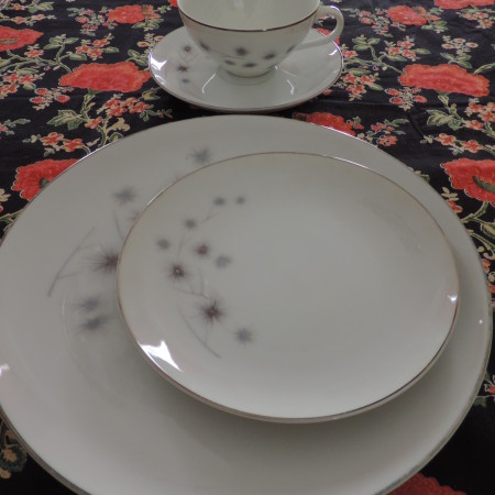 Fine China — 11 Cups, 12 Saucers, 12 Big Plates, 12 Little Plates, White&Silver