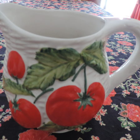 Pitcher -white Ceramic W/tomatoes On It NEW