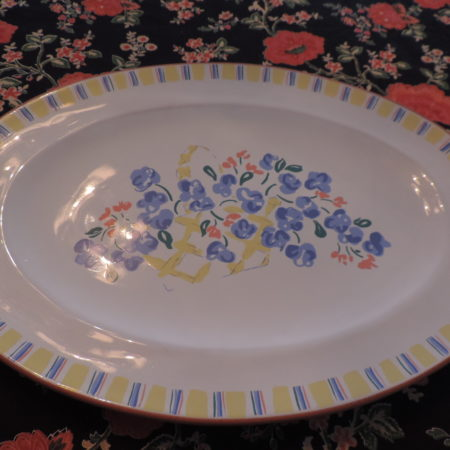 Platter Oval W/ Yellow, Blue, Peach Floral Pattern NEW