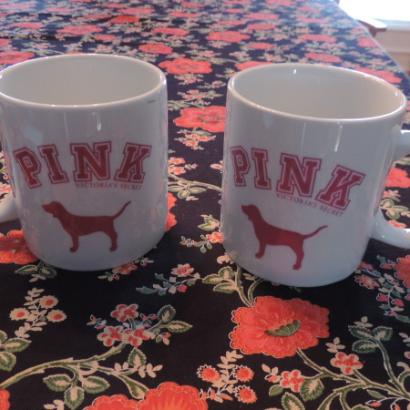 """Coffee Mug Over Sized – """"PINK"""" W/ Dog & Words PINK On It White Ceramic NEW"""