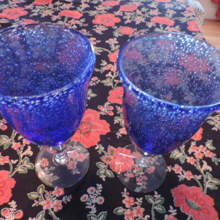 Wine Goblets – Blue > Clear Base Set Of (2) Made Of Recycled Glass