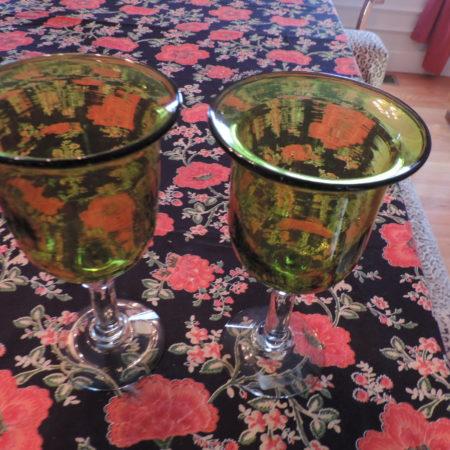 Wine Goblets – Avocado > Clear Base Set Of (2)