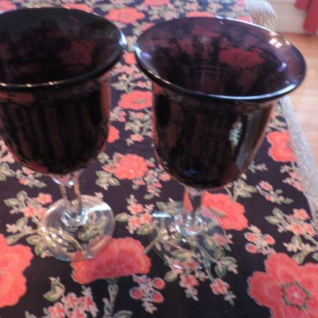 Wine Goblets – Purple > Clear Base Set Of (2)