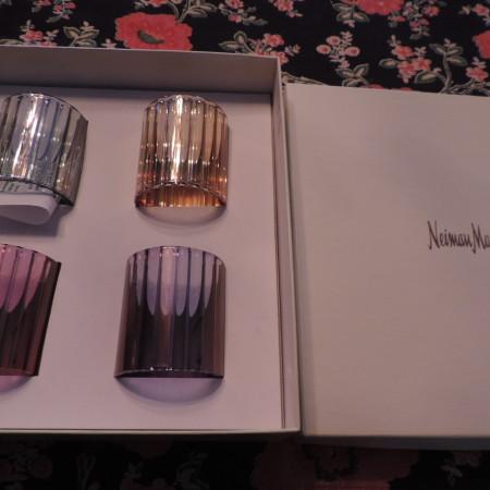 Crystal Napkin Rings Jewel Tones (4) To A Box Neiman Marcus NEW