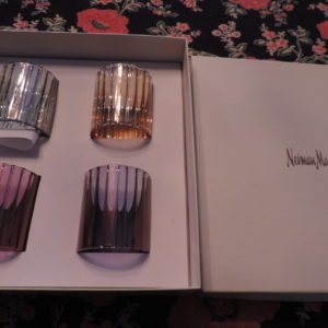 Crystal Napkin Rings Jewel Tones (4) To A Box Neiman Marcus NEW