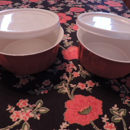 2 Red Bowls W/covers