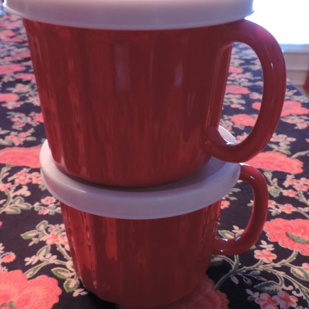2 Red Mugs W/covers Over Sized