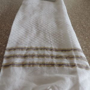 Dish Towels Set Of (2) White W/ Gold & Mauve Stripes Fringed Ends On Towels – 100% Cotton NEW