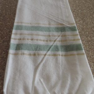 Dish Towels Set Of (2) White W/ Gold & Mint Green Stripes –  Fringed Ends On Towels 100% Cotton NEW