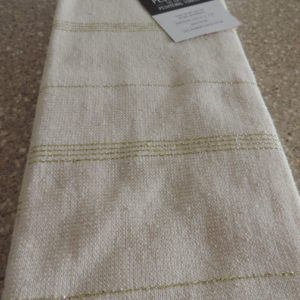 Dish Towels Set Of (2)  Cream W/ Gold Stripes – 100% Turkish Cotton NEW