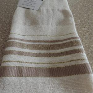 Dish Towels Set Of (2)  Cream W/ Gold & Beige Stripes – 100% Turkish Cotton NEW