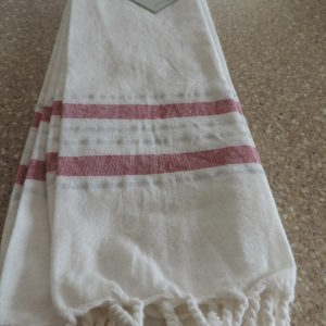 Dish Towels Set Of (2)  White W/ Silver & Red Stripes – Fringed Ends On Towels 100% Cotton NEW