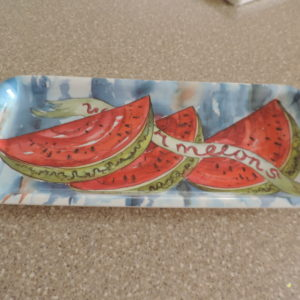 "Melamine Tray ""Watermelon"" Made In Italy 14″ X 6 1/2″"