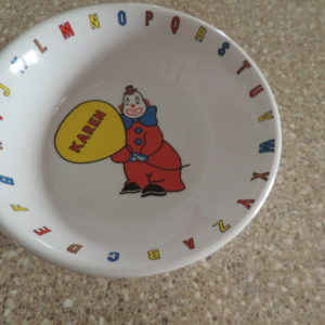 "Melamine Bowl – Clown W/ Name ""Karen"" Inside"