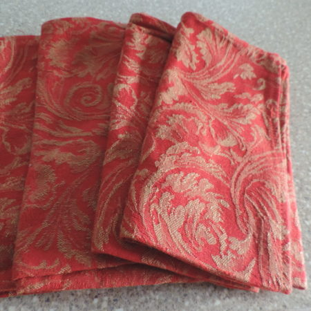 Cloth Napkins – Set Of 4 – Red & Gold Heavy Material>