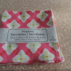 Cloth Cocktail Napkins – Set Of 4 > Red Background Tallow/light Blue Floral Print NEW