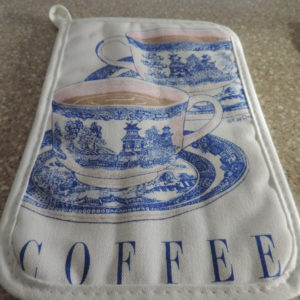 """Potholders """"Coffee"""" White & Blue Squares With Coffee Cups On Them NEW"""