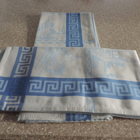 Dishtowels From Portugal — Set Of (2) Both Are In Blues Scenic With A Greek Key Motif Running Through The Towels NEW