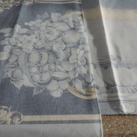 Dishtowels From Italy — Set Of (2) Both Are In Light Blues A Floral And A Coffee Grinder Print NEW