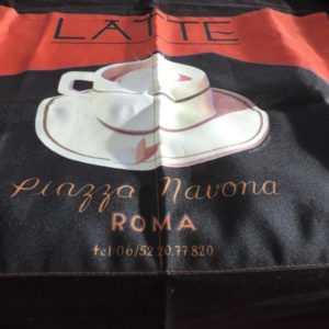 Apron – Black — Full Coverage – Has The Word Latte And A Cup Of Latte On The Front And Italien Words – NEW
