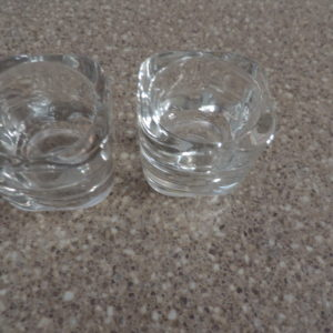 Candle Sticks 1 Pr. Clear Glass  Rounded 2″ High
